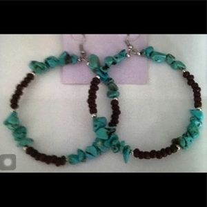 Large Genuine Turquoise & Tigers Eye Hoop Earrings
